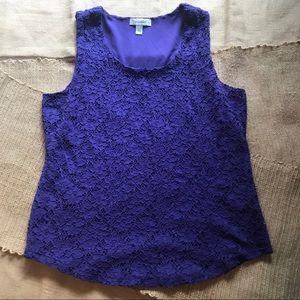 Dress Barn Purple Floral Lace Blouse Sz L